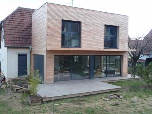 Terrasse douglas en sortie d'extension