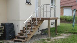 Escalier Ipé, rambarde Alu Inox