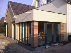 Extension ossature bois combinée 2 pans - toit plat