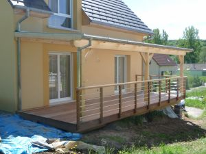 Terrasse Ipé sous auvent  polycarbonate