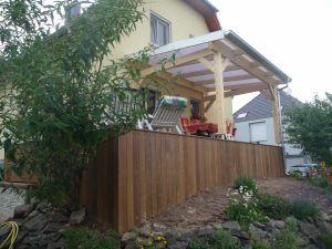 Terrasse Ipé avec fermeture verticale, couverture  polycarbonate