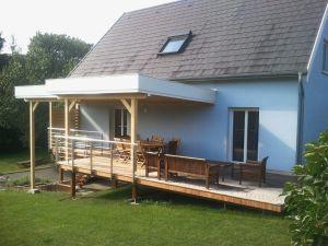 Terrasse Ipé sous auvent toit plat