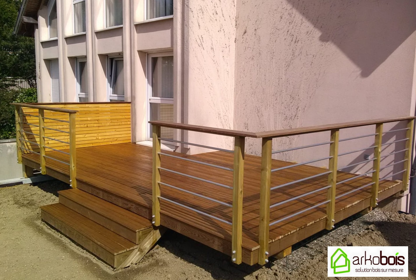 Brise Vue Terrasse Bois arkobois — terrasse yellow pine avec brise vue et garde