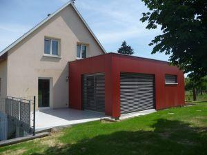 Maison après extension bardage Fundermax teinte bois