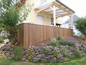 Auvent polycarbonate sur terrasse Ipé